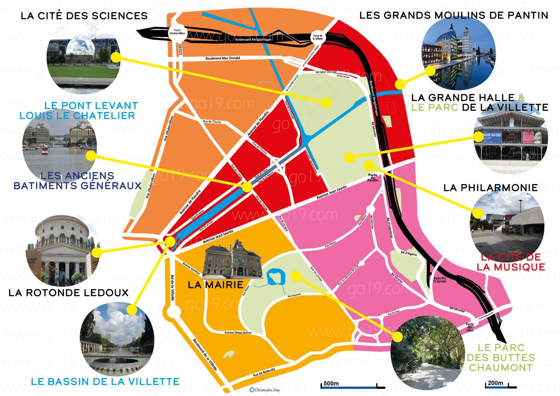 Carte des principaux sites touristiques 19eme 1